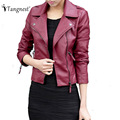 TANGNEST Asian Size 2016 Spring Autumn Women Leather Jacket Oblique Zipper Motorcycle Trendy Casual Faux Leather Coat WWP109