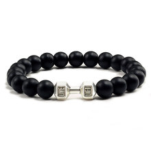 High Quality New Black Matte Beads Bracelet for Unisex Fitness Fit Life Prayer Dumbbell Bracelets Barbell Motivation Gym Jewelry(China)