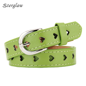 102cm Summer new Hollow heart wide belts for women 2019 fashion Candy colors female belt Children's belts and straps U127