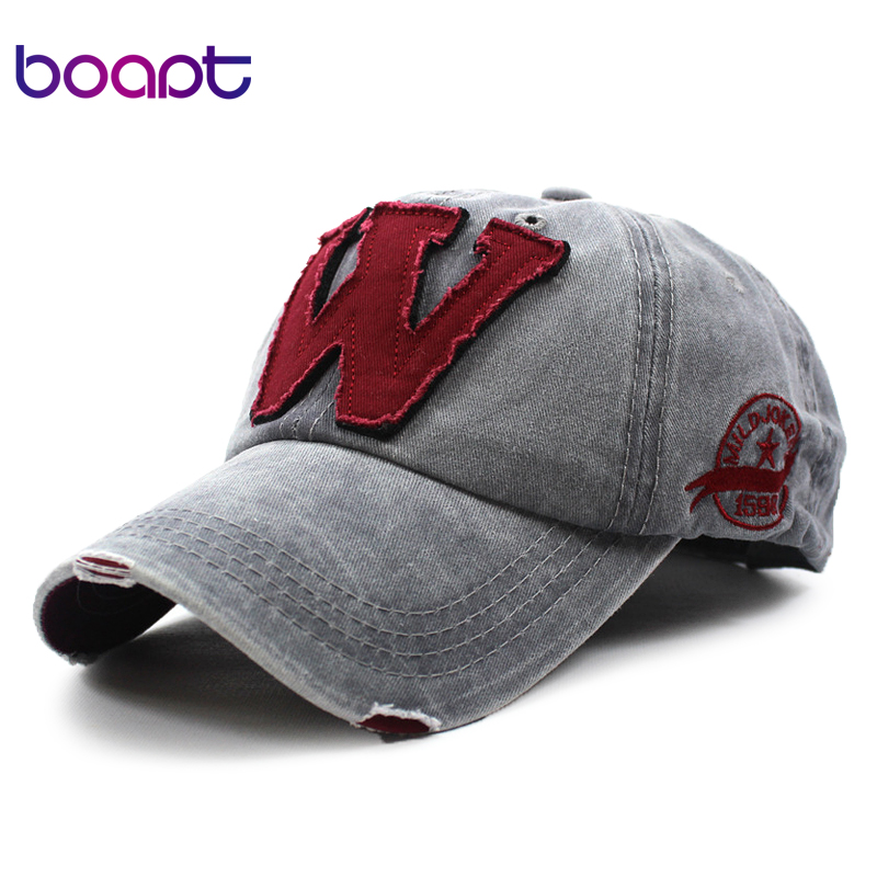 [boapt] patchwork ripped cotton embroidery letter casual summer baseball cap vintage snapback hip hop caps women hats for men rosicil skullies beanies winter hats for women letter beanies women hip hot caps skullies girls gorros women beanies female