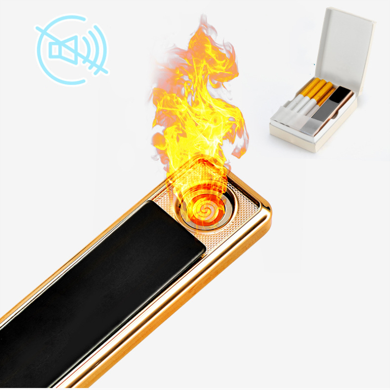 Three Color Windproof Metal Pull-down USB Charging Lighter