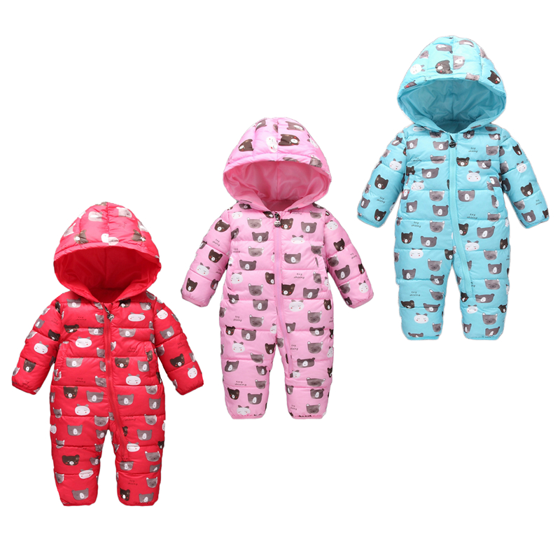 Warm baby romper boys Snowsuit Polyester baby winter romper hoodies Newborn overalls infant girls one-pieces clothes baby clothes winter infant romper baby boys girls jumpsuit newborn unisex polka dot clothing hooded toddler cute baby snowsuit