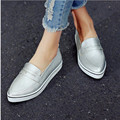 Women Shoes 2017 Size 34-40 Fashion White Platform Low Heel Simple Shoes PU Leather Pointed Toe Casual Shoes