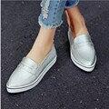 Zapatos de las mujeres 2017 tamaño 34-40 moda blanco zapatos de plataforma de tacón bajo simple pu de cuero del dedo del pie puntiagudo zapatos casuales
