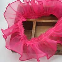 30 ヤード/ロット DIY 多色オーガンザフリルレース菌プリーツレーストリム聞けアクセサリー幅 8 センチメートルのウェディングドレス縫製アクセサリー