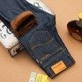 New Design Inverno Quente calças de Brim Dos Homens Forro de Lã Azul Clássico Famoso marca de Jeans Reta Calças Jeans Plus Size 40 42 Alta Qualidade