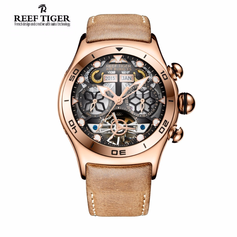 Reef Tiger/RT Sport Watch For Men Skeleton Luminous Watch Year Month Date Day Rose Gold Automatic Watches RGA703 yn e3 rt ttl radio trigger speedlite transmitter as st e3 rt for canon 600ex rt new arrival