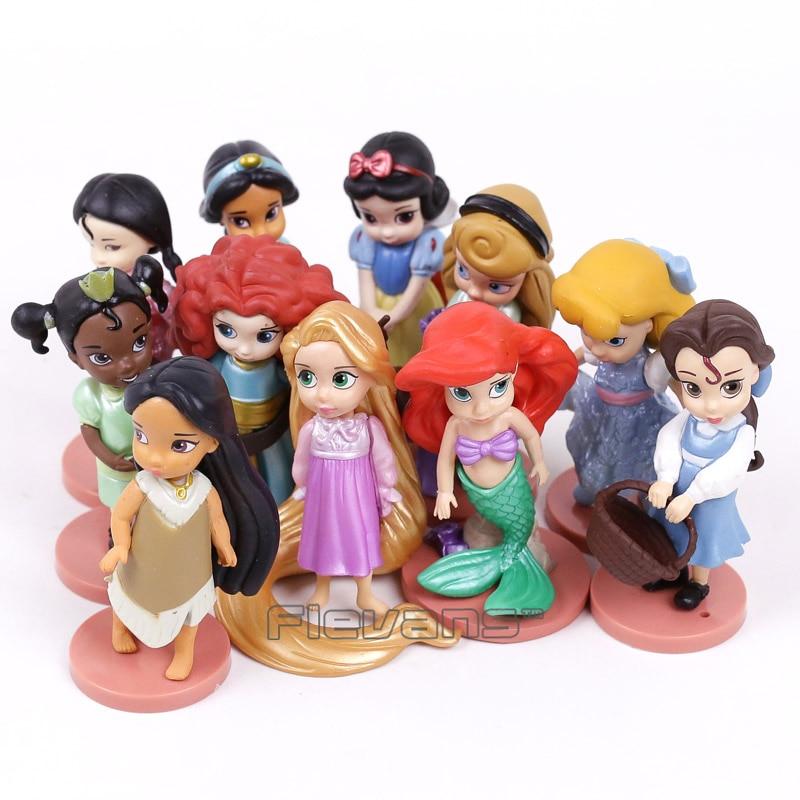 Princesses Toys Snow White Merida Rapunzel Belle Tiana Ariel Jasmine Mulan PVC Figures Gifts for Girl 11pcs/set тюбинги r toys snow auto mini