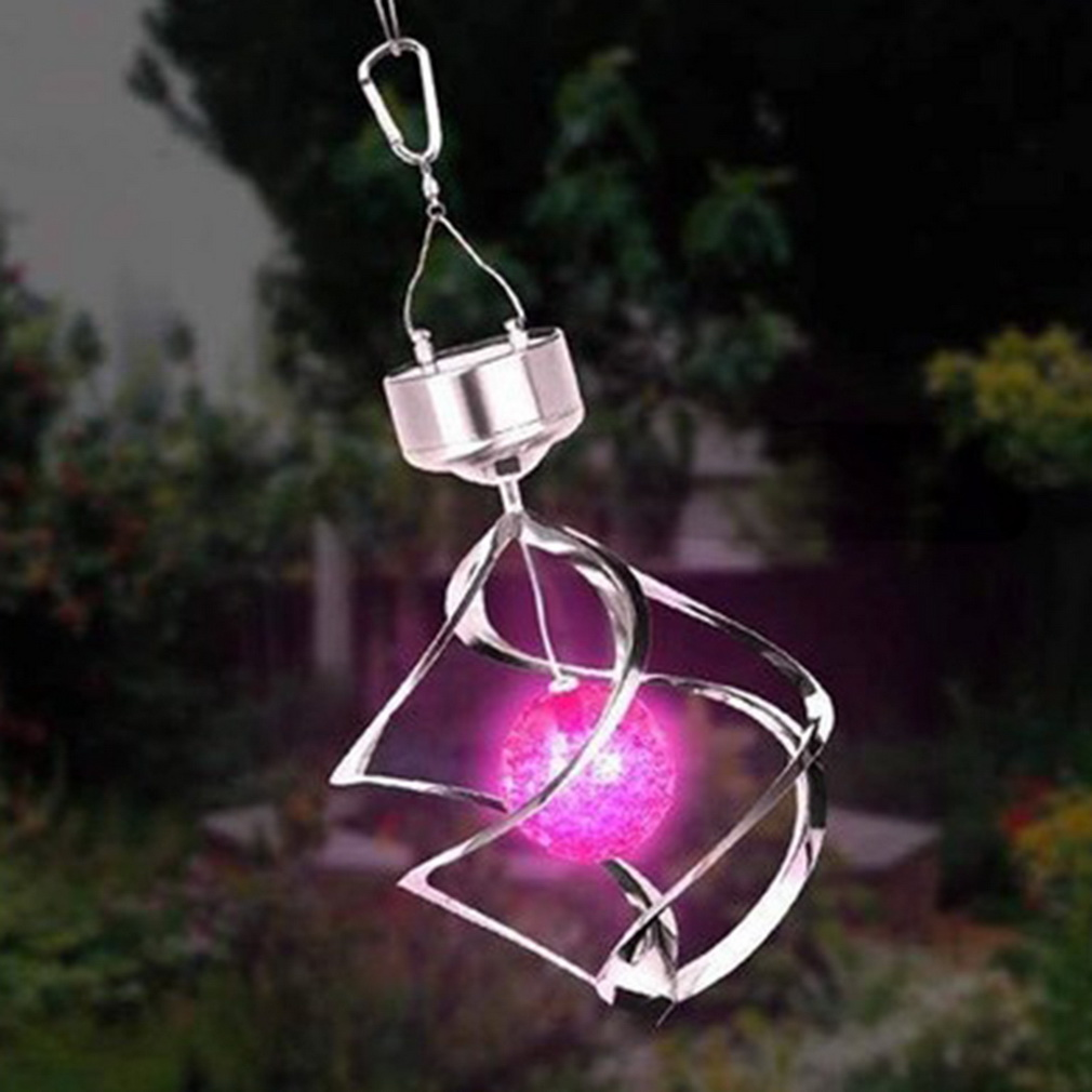 Sylvialuca Color Changing Solar Powered LED Wind Chimes Wind Spinner Outdoor Hanging Spiral Garden Light Courtyard Decoration