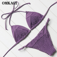 OMKAGI Brand Swimsuit Swimwear Women Solid Micro Bikini Set Swimming Bathing Suit Beachwear Sexy Push Up