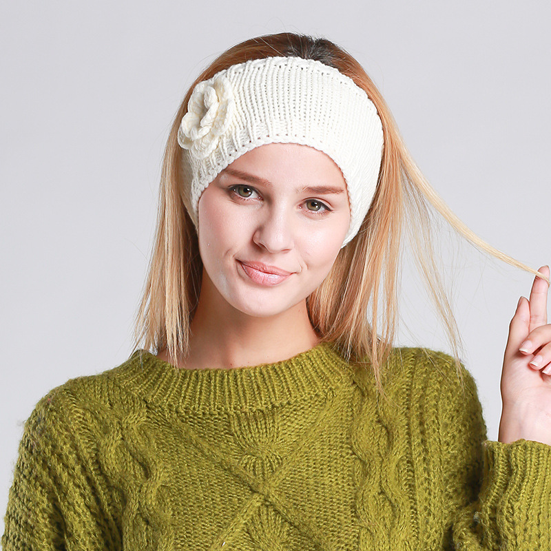 Manual wool head hair band headcloth female pure color flowers Winter can be very good to protect your ears is very cute