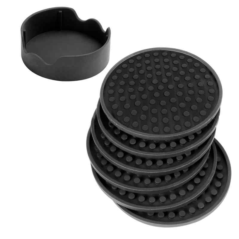 1 Set Black Cup Mats Round Heat Insulation Silicone Drinking Pads Creative Pure Color Coasters Mats For Cafe Home Restaurant