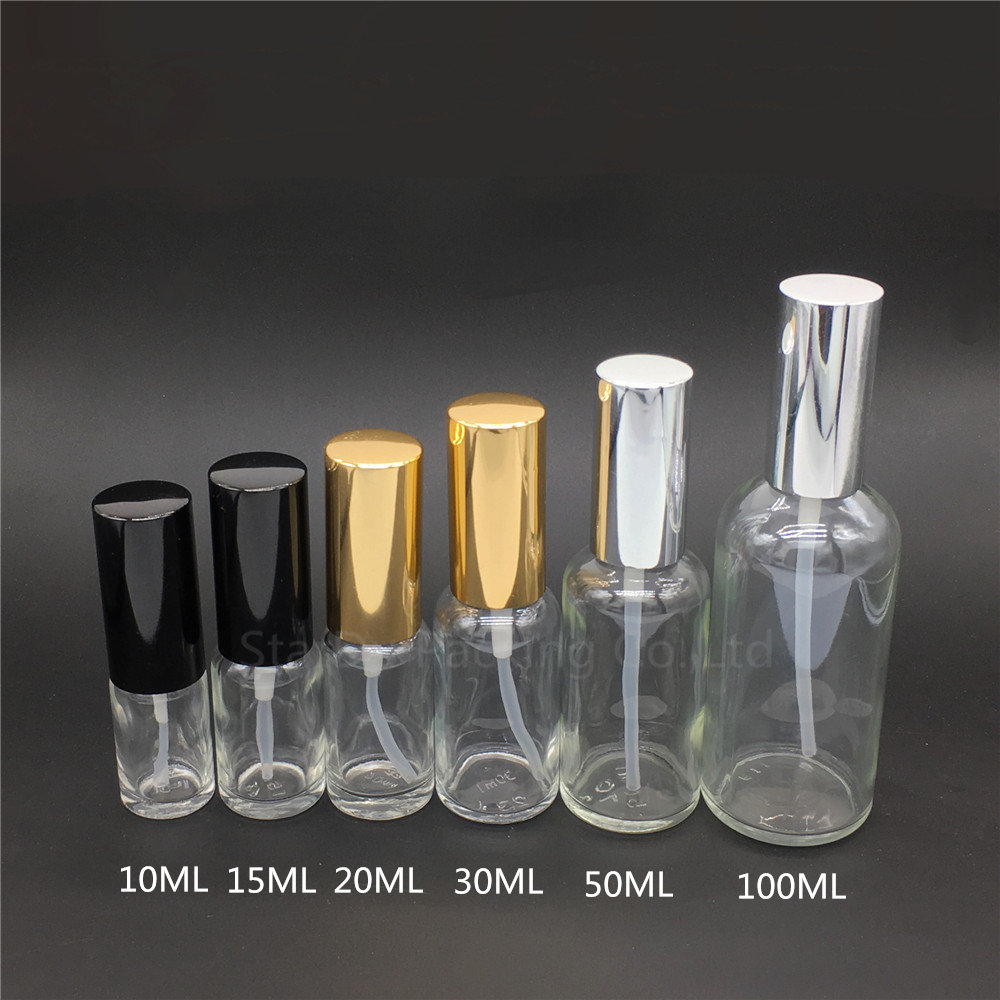 5ml 10ml 15ml <font><b>20ml</b></font> 30ml 50ml 100ml Empty transparent Glass <font><b>Spray</b></font> <font><b>Bottle</b></font> Perfume Container Refillable Cosmetic Atomizer image