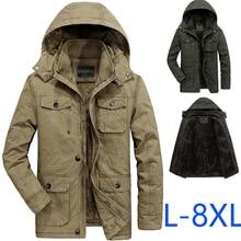 Sayaxiga 男性の冬のフリースジャケットコート防風綿フード付きオーバーコート軍事カジュアル衣装プラスサイズ 7XL 8XL