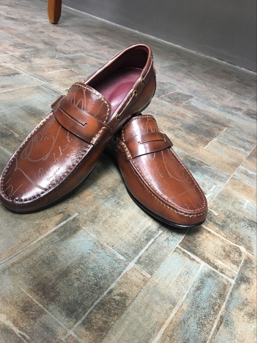 TERSE_Handmade leather loafers shoes mens Italian calfskin genuine leather dress shoes casual shoes goodyear welted flats shoes