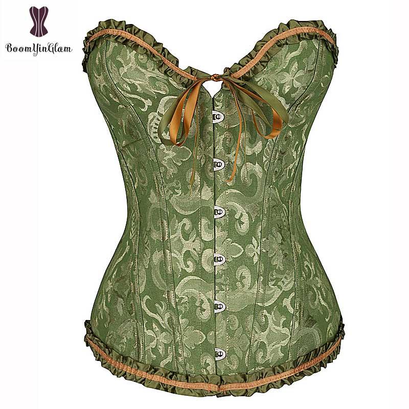 corset lace sexy waist trainer plus size bustier corset minceur overbust corset top plastic boned jacquard for party dress skirt 1