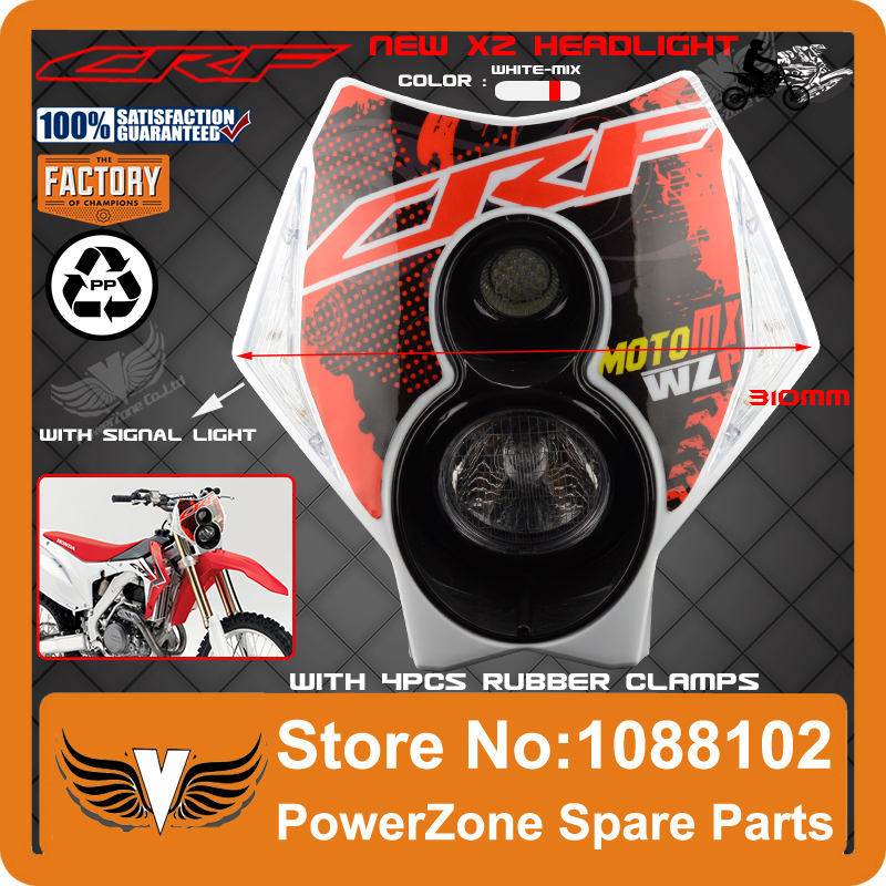 Powerzone Trail Tech Motorcycle Motocross Supermoto X2 Headlight Headlamp Street Fighter CR CRF 250 450 250R 450R