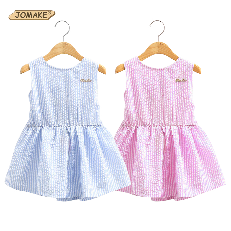 Classic Plaid Baby Girls Dresses Summer 2018 Sleeveless Girl Dress with Bowknot Casual Girls Clothes Brand Toddler Girl Clothing