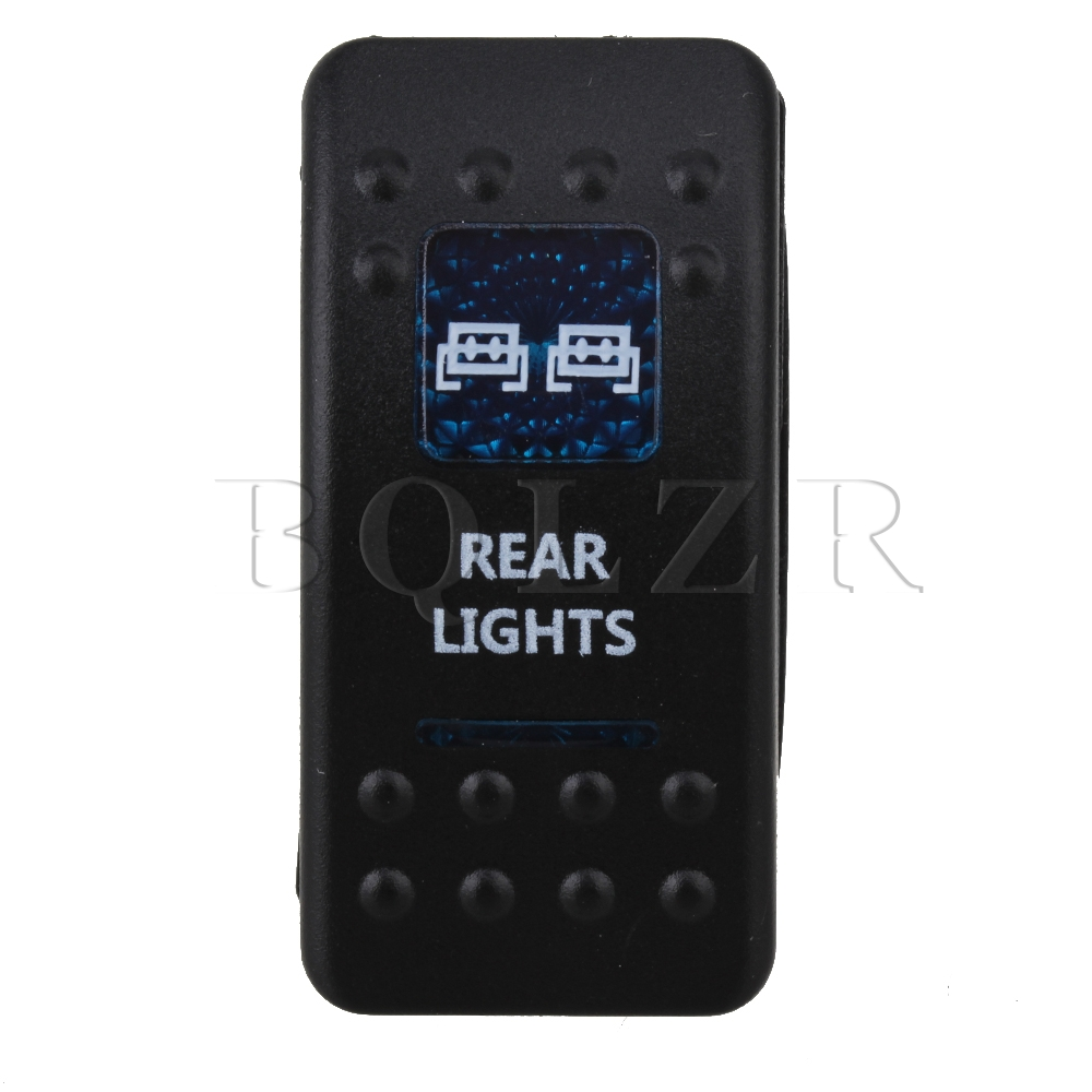 BQLZR 12V/24V Rocker Switch SPST ON-OFF Blue Rear Pattern  Illuminated bqlzr dc12 24v black push button switch with connector wire s ot on off fog led light for toyota old style