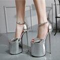 Mulheres Sapatos de Plataforma 2016 Verão 23 cm Salto Alto Sexy Couro PU Saltos Finos de Ultra Sandálias de Salto Alto Mulheres Bombas