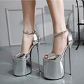 Women Platform Shoes 2016 Summer 23cm High Heels  Sexy  PU Leather Thin Heels Sandals Ultra High Heels  Women Pumps
