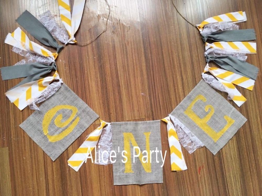 New White Yellow Grey Burlap Banner Baby Shower 1st Birthday Party