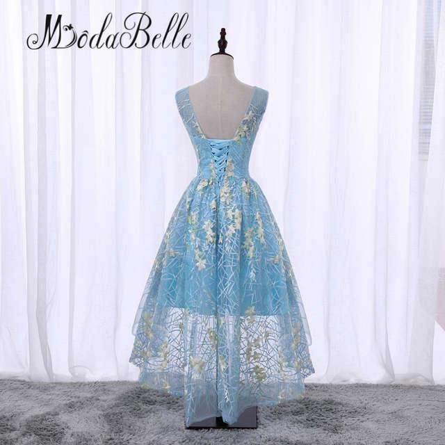 modabelle Black Short Front Long Back Flowers Floral Prom Dress Cheap  Junior Girls Scoop Neck Lace 6ace5b1f2b8d