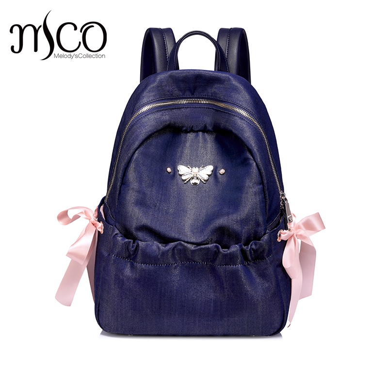 Just Star Brand Designer Fashion insect Bow Style Soft Lady Women Bags Preppy Style Backpack Girls School a Bags travel Sac just star brand design elf hardware casual pu women leather ladies girls backpack school travel shoulders bags