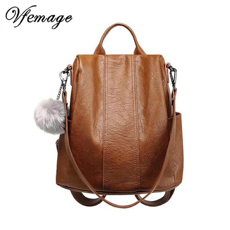 Vfemage High Quality Leather Backpack Women Multifunction Backpacks Small  Anti Theft Bagpack Girls Fashion School Bag Sac A Dos