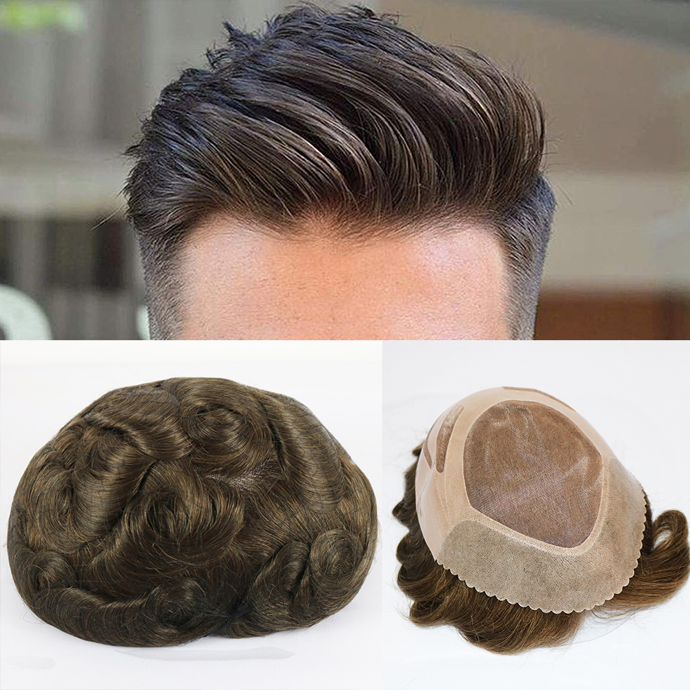 SimBeauty Mono Lace Base Men Toupee Npu Around Men Toupee Mono Lace With Npu Around Men's Wig 8x10 Inch Replacement Hairpieces