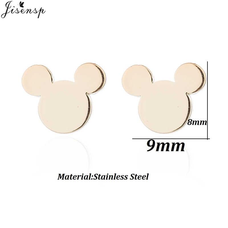 Jisensp สแตนเลสผีเสื้อ Mickey Stud ต่างหูสำหรับผู้หญิง Bijoux Femme สีดำเรขาคณิตต่างหูแฟชั่นเครื่องประดับ