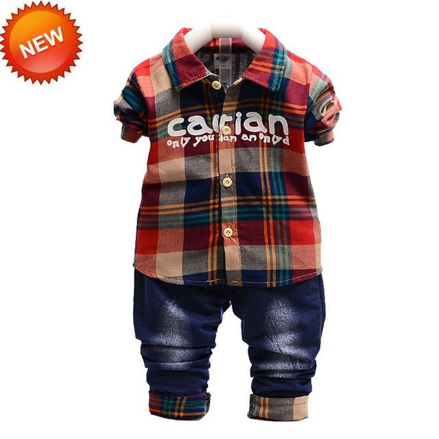 Vermelho / verde jaqueta xadrez Tops + calça Jeans 2 pçs/set Bebek Set roupas menino moda corpo Suit 4 tamanho opcional de alta qualidade Material de algodão