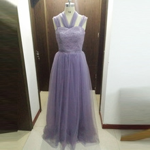 Multi wear Ways Halter Semi Formal Party Dress For Wedding Guest Dresses Soft Tulle Lace Bridesmaid