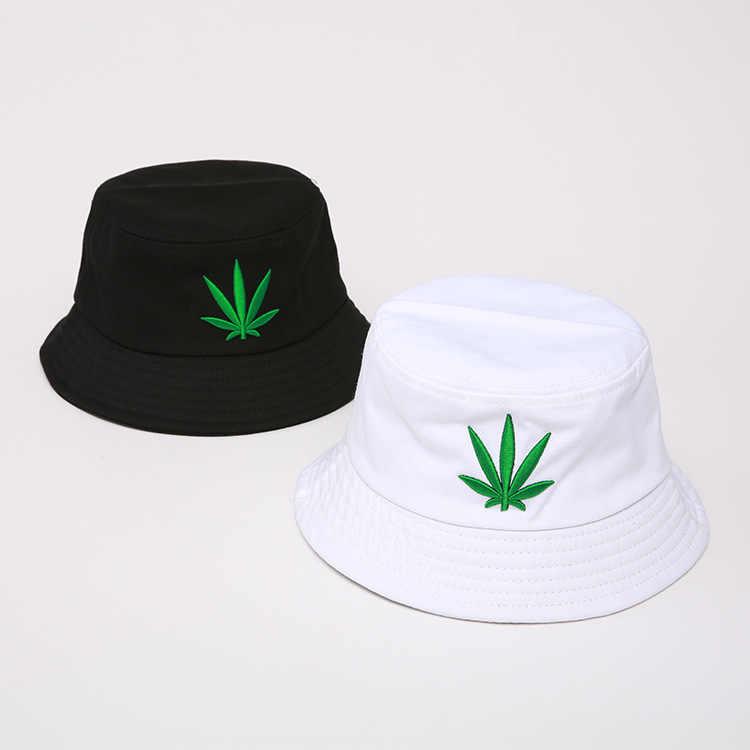 Men Women Maple Leaf Bucket Hat Hip Hop Fisherman Panama Hats Embroidery  Cotton Outdoor Summer Casual 3697b21c9447