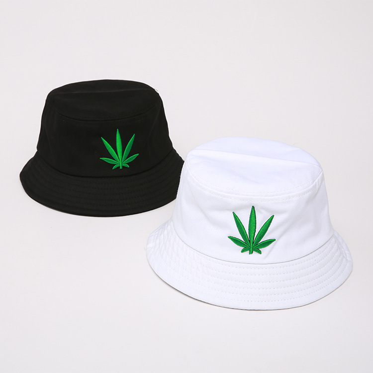 Men Women Maple Leaf Bucket Hat Hip Hop Fisherman Panama Hats Embroidery Cotton Outdoor Summer Casual Swag Bob Visor Bucket Cap