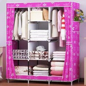 Image 3 - Waterproof Oxford Cloth Multi purpose Clothing Storage Cabinet Wardrobe DIY Assembly Reinforced Folding Storage Closet Furniture