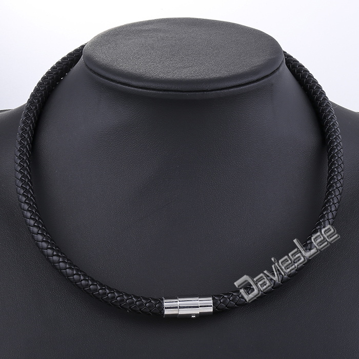 Davieslee Men's Leather Necklace Choker Black Brown Rope ...