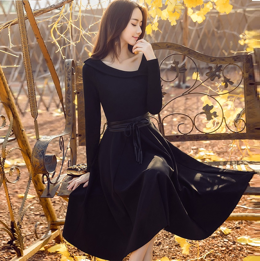 2017Autumn Ladies elegant long dress Oblique collar pinched waist party dress plus size female vestidos de festa XXXXL19810
