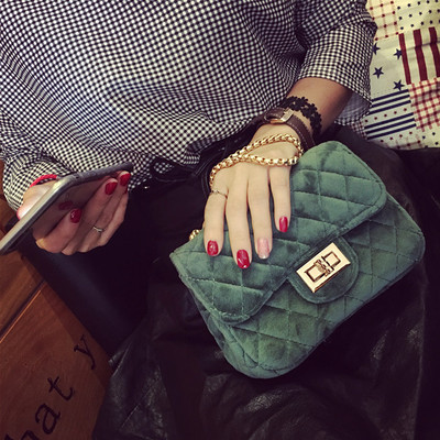 Cecelia Classic Woman Velour shoulder bag female vintage mini flap bag small Quilted handbag