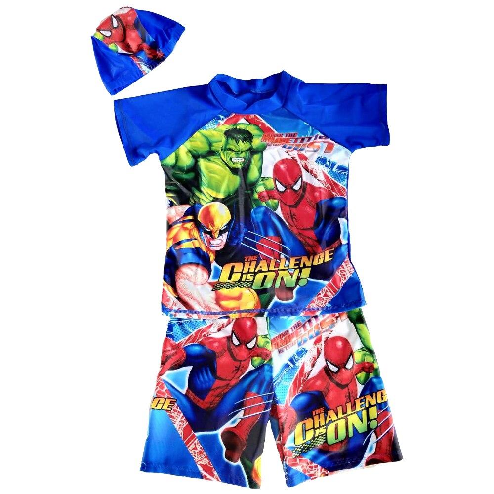 Boys Swimsuit 3-Pieces Short Sleeve Rash Guard UPF50+ UV Protective Bathsuit Cartoon Children Swimwear With Swim Cap Trunks