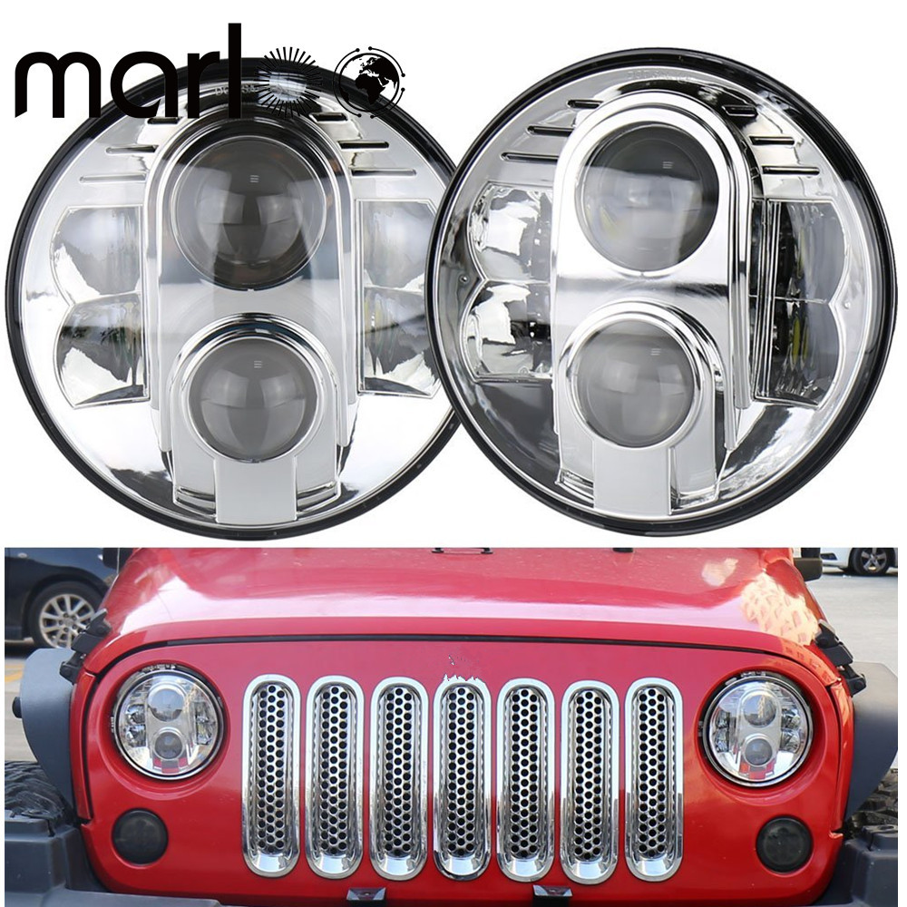 Marloo 7 80W Projector Daymaker Led Headlight with White DRL for Jeep Wrangler Jk LJ TJ CJ 4x4 Off road lamp