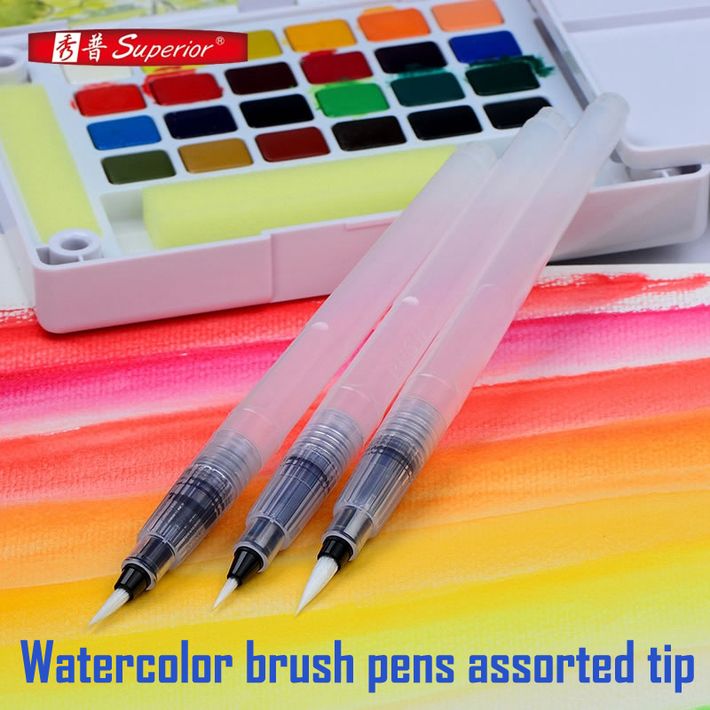 3pcs/lot Watercolor brush pens assorted tip S,M,L, water brush pen set for watercolor painting art supplies fashion women backpack genuine leather backpack women travel bag college preppy school bag for teenagers girls mochila femininas