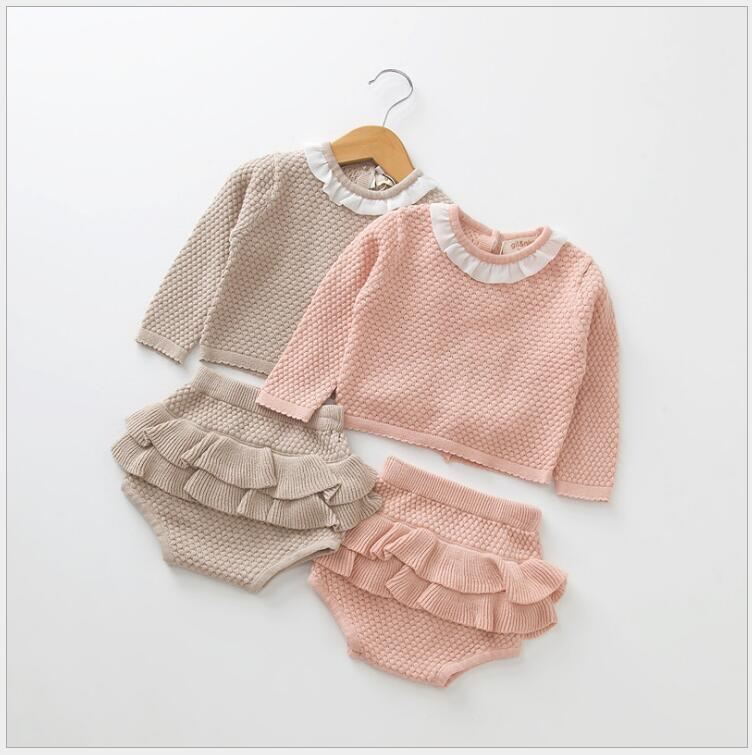 Autumn New Baby Girl Clothing Sets newborn Knitted Cotton Long Sleeve Sweater Shorts Outfits fall winter