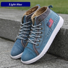 British Style Men Casual Shoes Denim Canvas Shoes Men Sneakers High Top Man Ankle Boots Flat Shoes Usual School Boy Footwear distressed top denim ankle boots