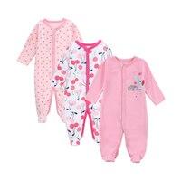 LONSANT 3 SZTUK/PARTIA Dziewczynka Ubrania Wygodne Baby Pajacyki Zimą Gruba Wspinaczka Ubrania Noworodka 0-12 M Odzież Dropshipping