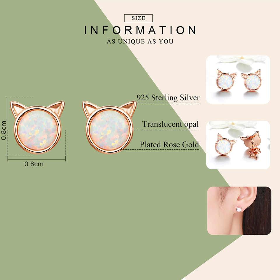 WOSTU ใหม่แฟชั่น 925 เงินสเตอร์ลิงต่างหู Rose Gold น่ารักแมวโอปอลหิน Tiny STUD ต่างหูสำหรับเครื่องประดับงานแต่งงานของผู้หญิง CQE538