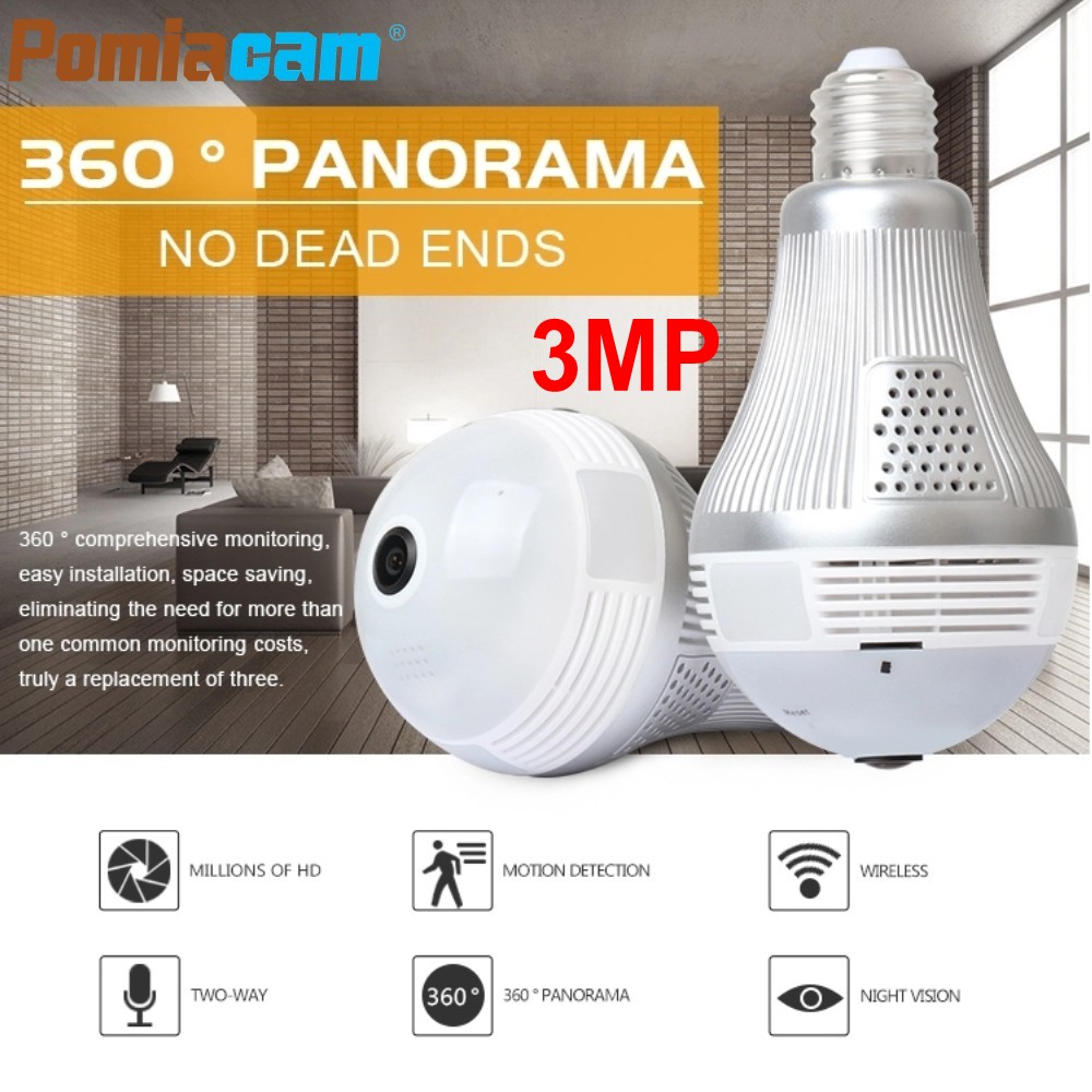 New 360 Degree Fisheye Wifi Bulb Lamp IP Camera LS-QJ58 LED Light 3MP wireless Panoramic Home Security CCTV Camera Night Vision