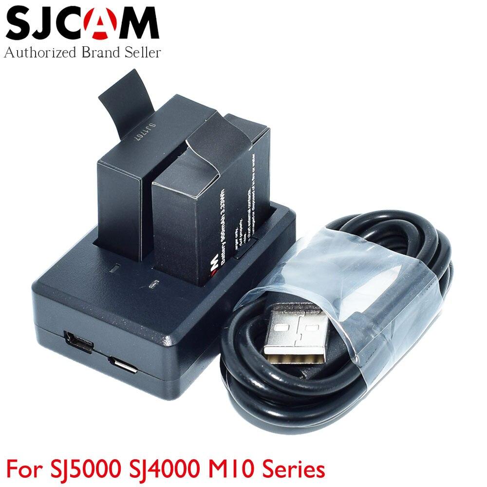 Bureau Double Ports Chargeur De Batterie pour SJCAM SJ4000 SJ5000 M10 Série Caméra D'action Sport Étanche + 2 pièces Batteries D'origine
