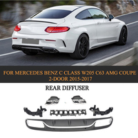 Car Style PP Car Rear Bumper Lip Diffuser With Exhaust Muffler For Mercedes Benz C Class W205 C63 AMG Coupe 2 Door 2015 2017