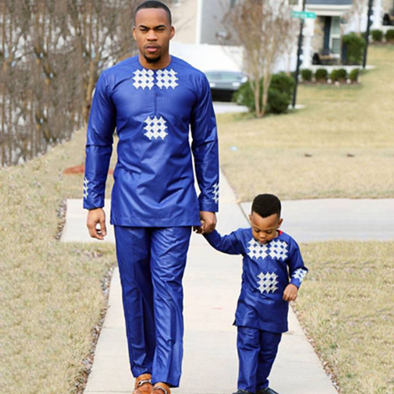 H&D African Men Kid Boy Clothing 2019 Mens Dashiki Shirt Africa Bazin Riche Outfit Clothes Tops Pant Suits Vetement Africain